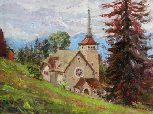 A painting of a church in the European countryside