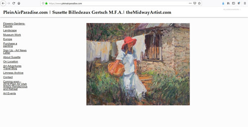 The front page of Susette Billedeaux's art portfolio website