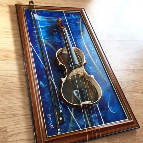 A work of art using a deconstructed violin