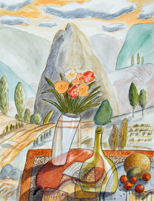 A mixed media artwork with still life objects in front of a mountain