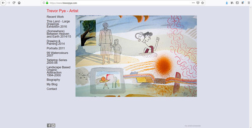 The front page of Trevor Pye's art portfolio website