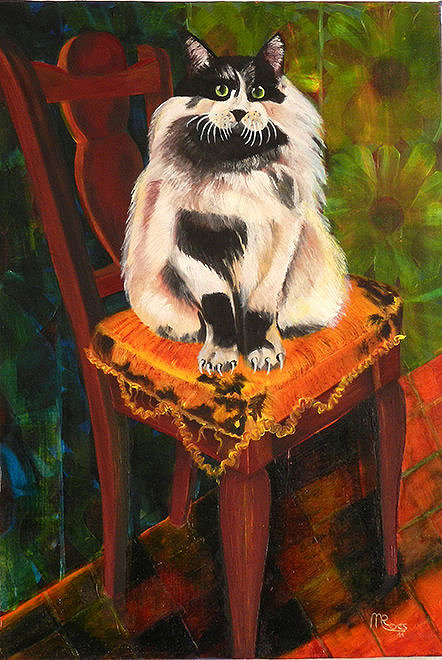 painting of a cat sitting on a chair