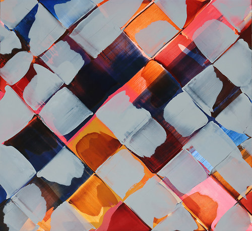 A painting made with squares of complementary colours