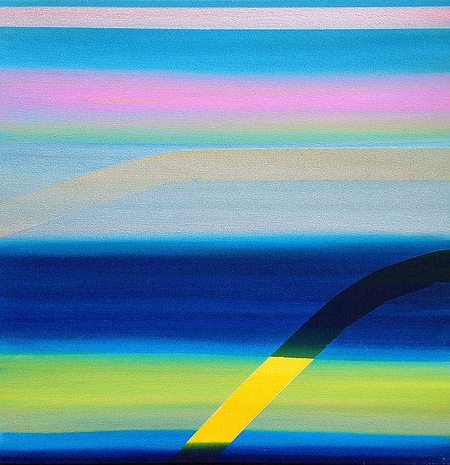 Abstract painting on raw canvas with blue, pink and yellow strips