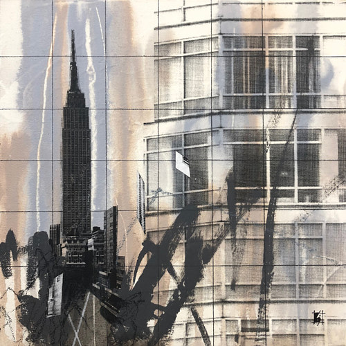 A collaged image with visuals of buildings
