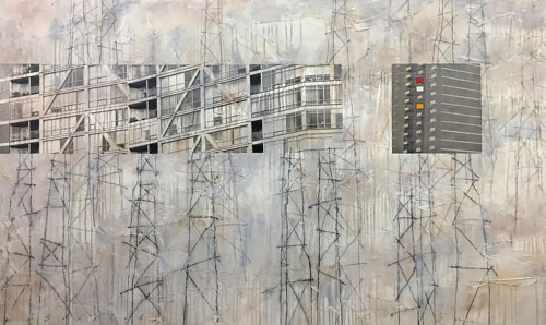 A mixed media artwork with lines of scaffolding