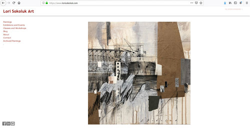 A screen capture of Lori Sokoluk's art portfolio website