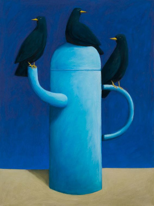 A pastel artwork of three birds on a tea pot