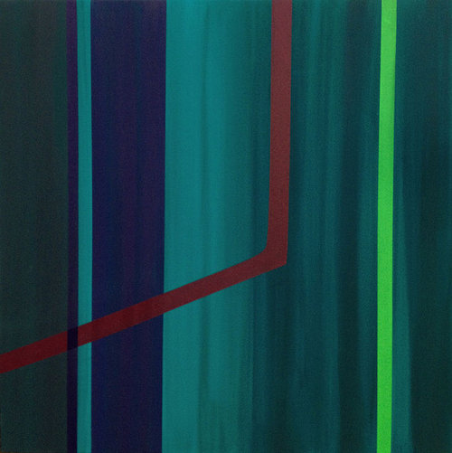 Abstract painting on raw canvas of multiple stripes of green and blue