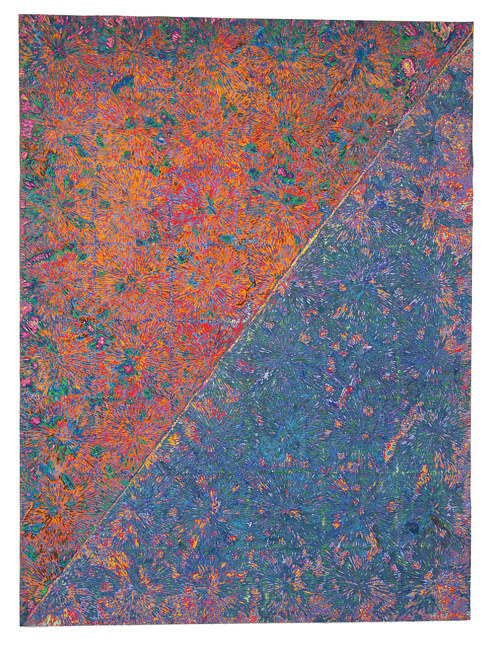 A painting with two planes of highly textured colour