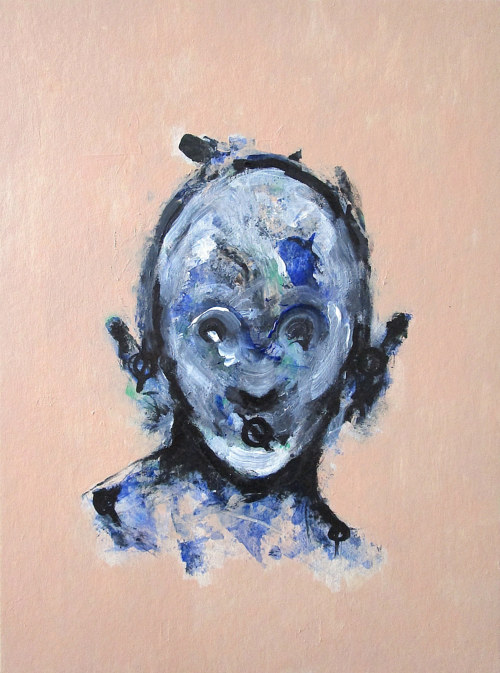 A painting of a bluish face on a natural background