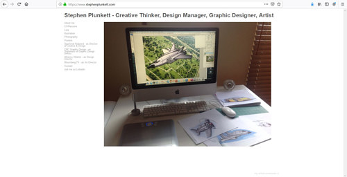 A screen capture of Stephen Plunkett's art portfolio website