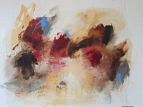 An abstract painting made with heavy, confident brush strokes