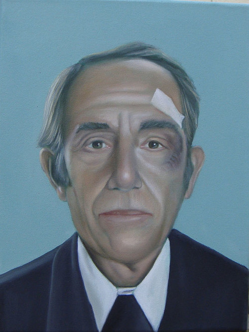 A painting of a man in a suit with a bandage on his face