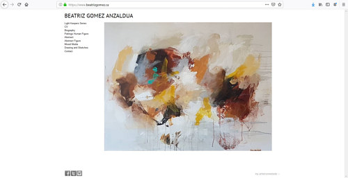 The front page of Beatriz Gomez Anzaldua's art website