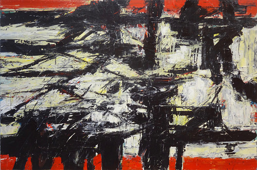 An abstract painting with heavy red and black stripes