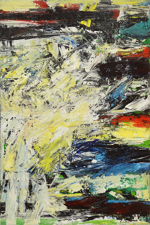 An abstract painting with rough, textured areas of colour