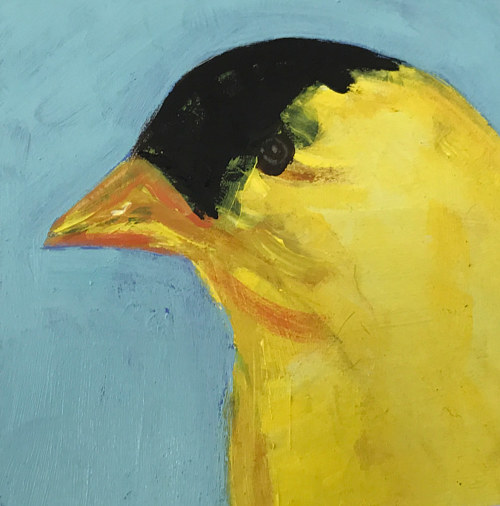 A painting of a yellow goldfinch on a blue background