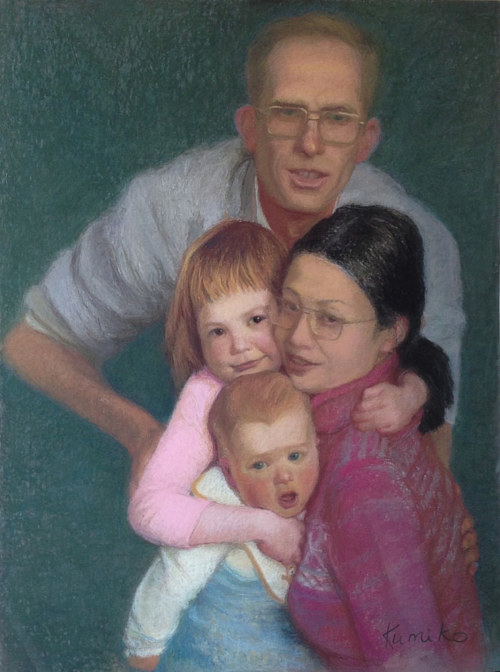 A pastel drawing of a young family