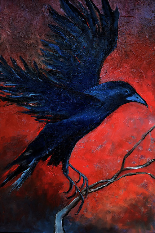 A painting of a crow on a striking red background