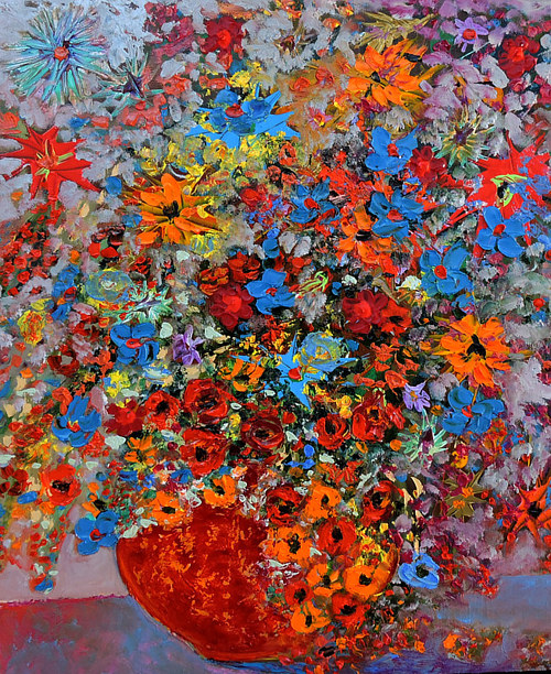 A painting of flowers with bright colours and small brush marks