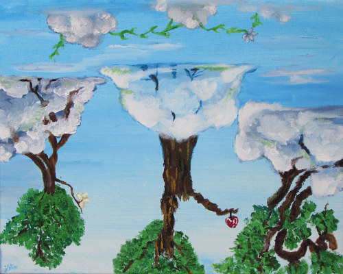 A painting of upside-down trees in the sky