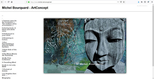 The front page of Michel Bourquard's art website