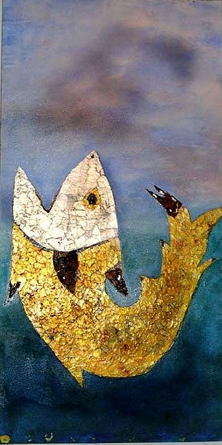 A painting with a golden fish