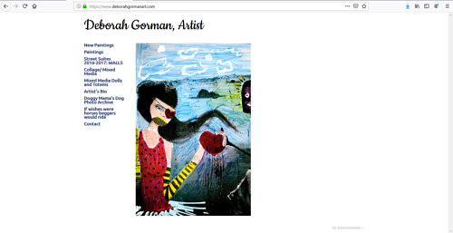 A screen capture of Deborah Gorman's art website
