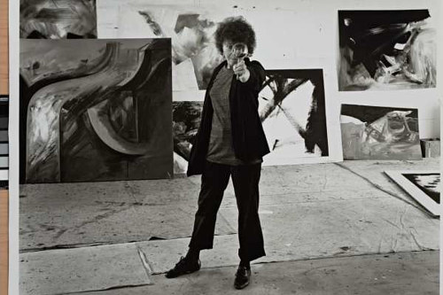 A photo of painter Jay Defeo in her studio