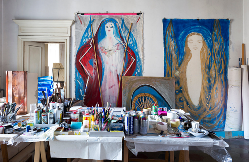 A photo of Marisa Merz' art studio