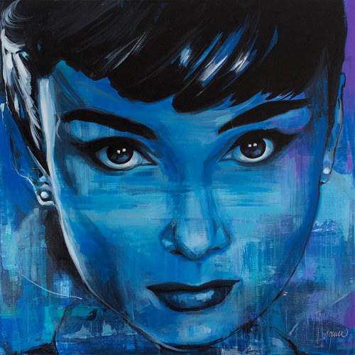 A painting of Audrey Hepburn in blue tones