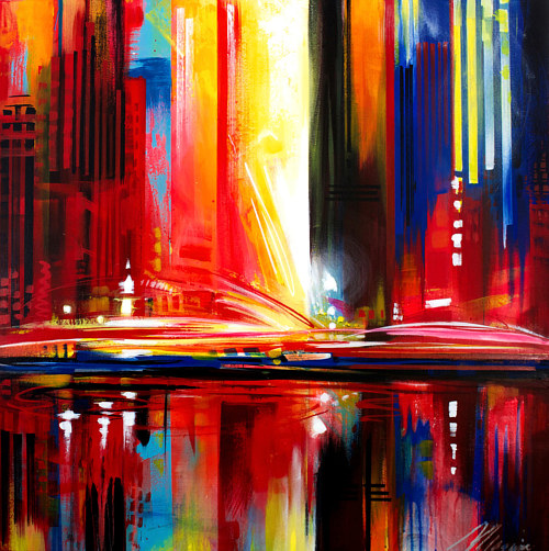 An abstracted painting of a colourful cityscape
