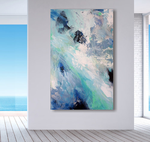 An abstract painting with blue tones
