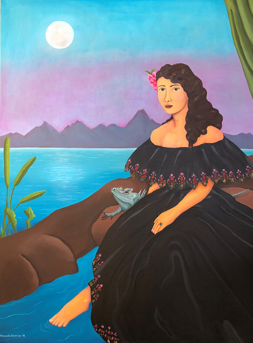 A painting of a woman in a black dress in front of a landscape