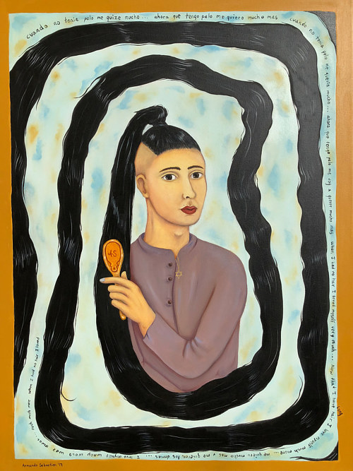 A painting of a person with an extremely long spiraling ponytail