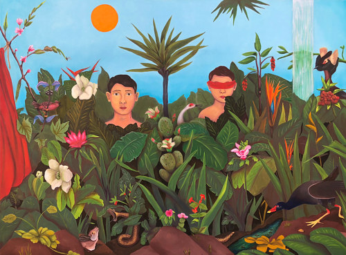 A painting of two boys in a lush garden