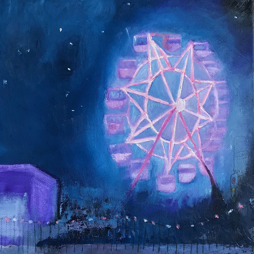 A painting of a Ferris Wheel lit up at night