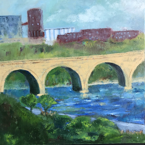 A painting of a stone arch bridge in sunlight