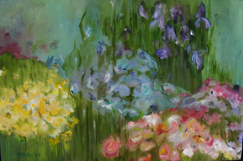 A lush painting of slightly abstracted flowers in a garden