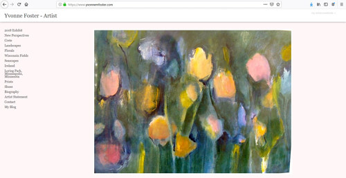 A screen capture of Yvonne M. Foster's art portfolio website