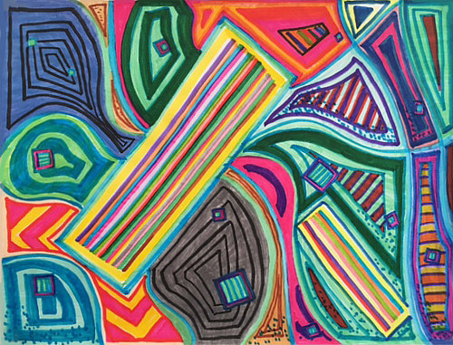 An abstract drawing with overlapping coloured lines and shapes