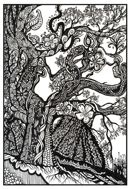 An ink drawing of a tree in patterened black and white