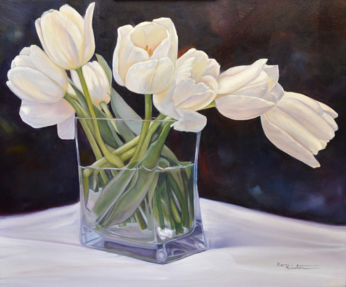 A painting of white flowers in a square vase