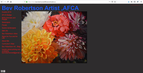 The front page of Bev Robertson's art portfolio website