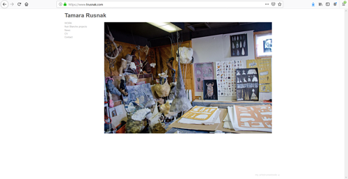 A screen capture of Tamara Rusnak's art portfolio website