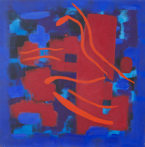 An abstract painting made in deep blue and red hues
