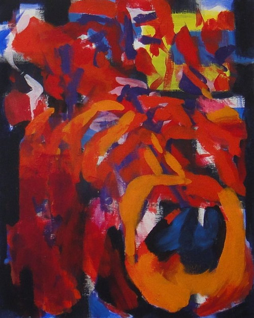 A heavily abstracted painting of a jazz musician