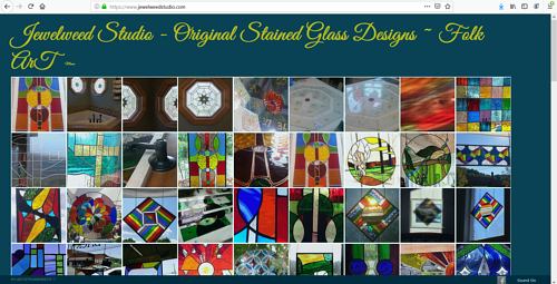 The front page of the Jewelweed studio art website