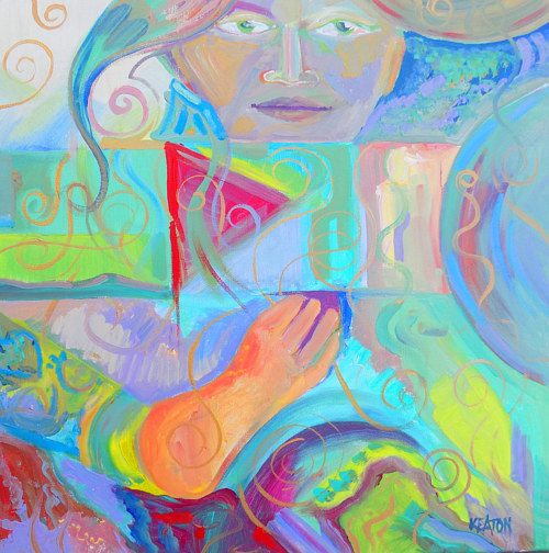 An abstract painting with pastel colours and a female figure